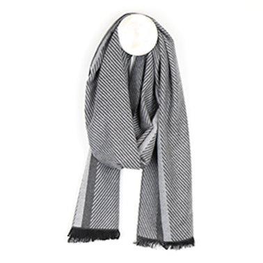 Pom men's grey mix herringbone stripe scarf