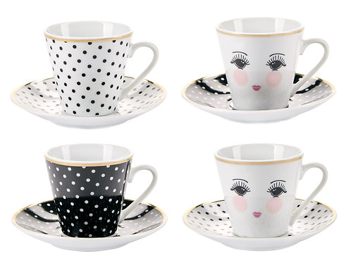 Miss Etoile espresso cup and saucer set of 4