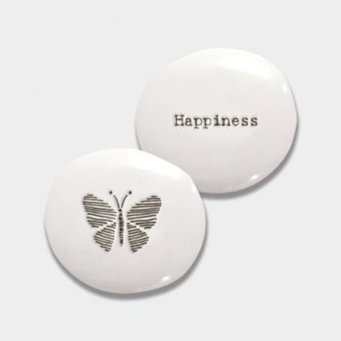East of india 'happiness' porcelain pebble