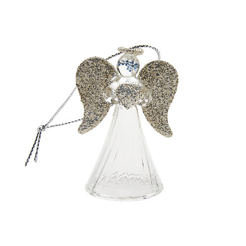 Heaven Sends Clear and Gold Large Angel Christmas Decoration (sold as single)