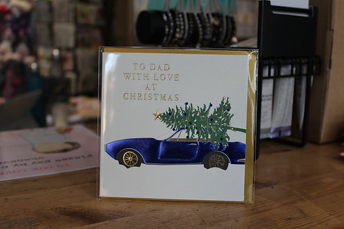 Wendy Jones-Blackett 'To Dad with Love at Christmas' Blue CarChristmas Card