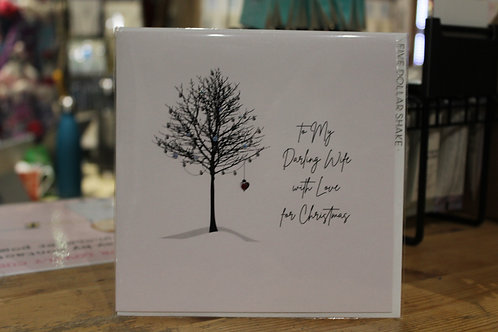 'To my Darling Wife with Love for Christmas' Winter Tree Spouse Christmas Card