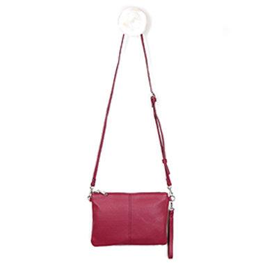 Pom red shoulder vegan leather bag