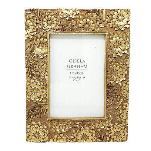 "Gisela Graham Gold Floral Picture Frame - 4"" x 6"""