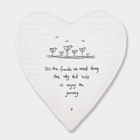 East of India 'its the friends we meet' Porcelain heart coaster