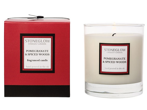 Stoneglow Pomegranate & Spiced Woods Scented Candle