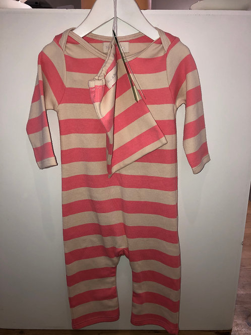Bob and blossom pink and peach stripe all-in-one  £24.50
