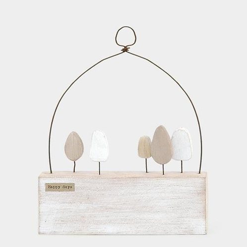 East of india 'happy days' wooden wall hanging