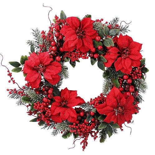 Gisela Graham Red Flower Christmas Wreath