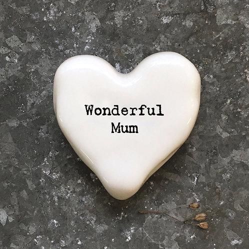 East of india 'wonderful mum' white heart token