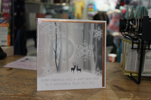 'Merry Christmas and a Happy New Year To a Wonderful Mum and Dad' Christmas Card