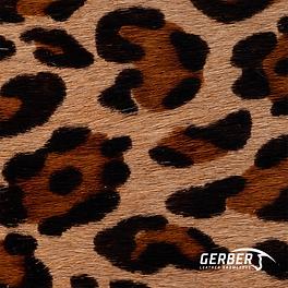 Couro estampado com tema animal e pelo, utilizado em tapetes e itens decorativos divesos.