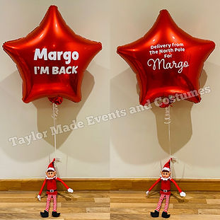 Elf Holding Balloon Personalised