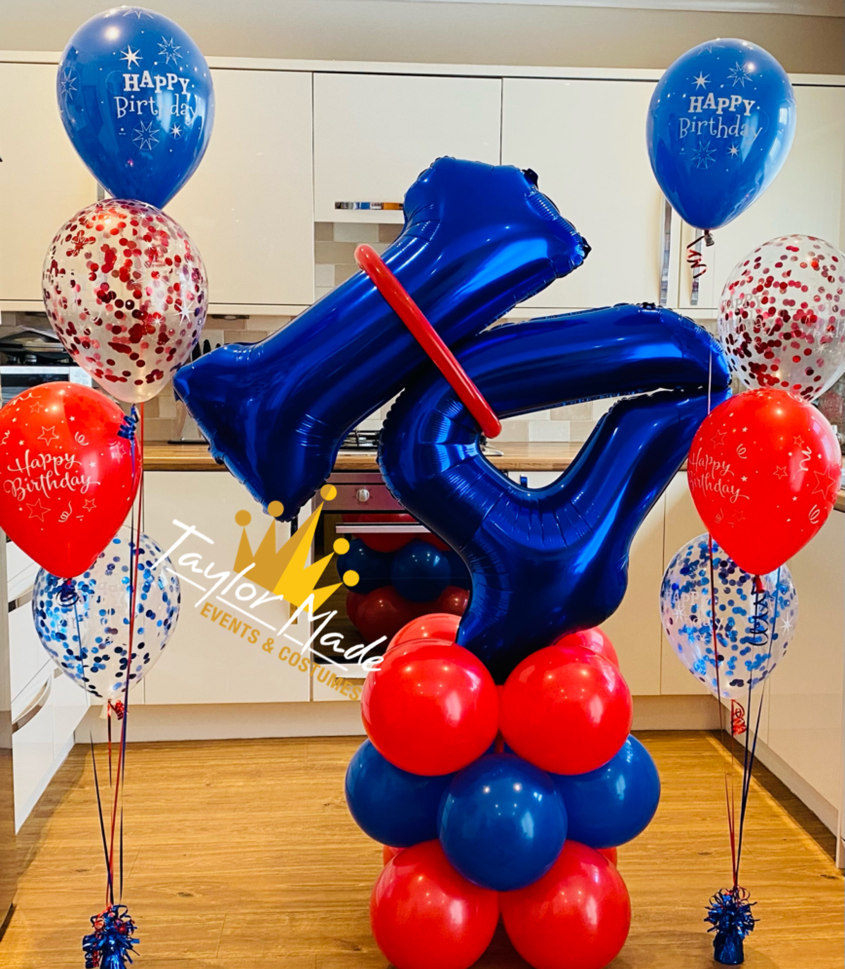 blue and red 14th Birthday tower