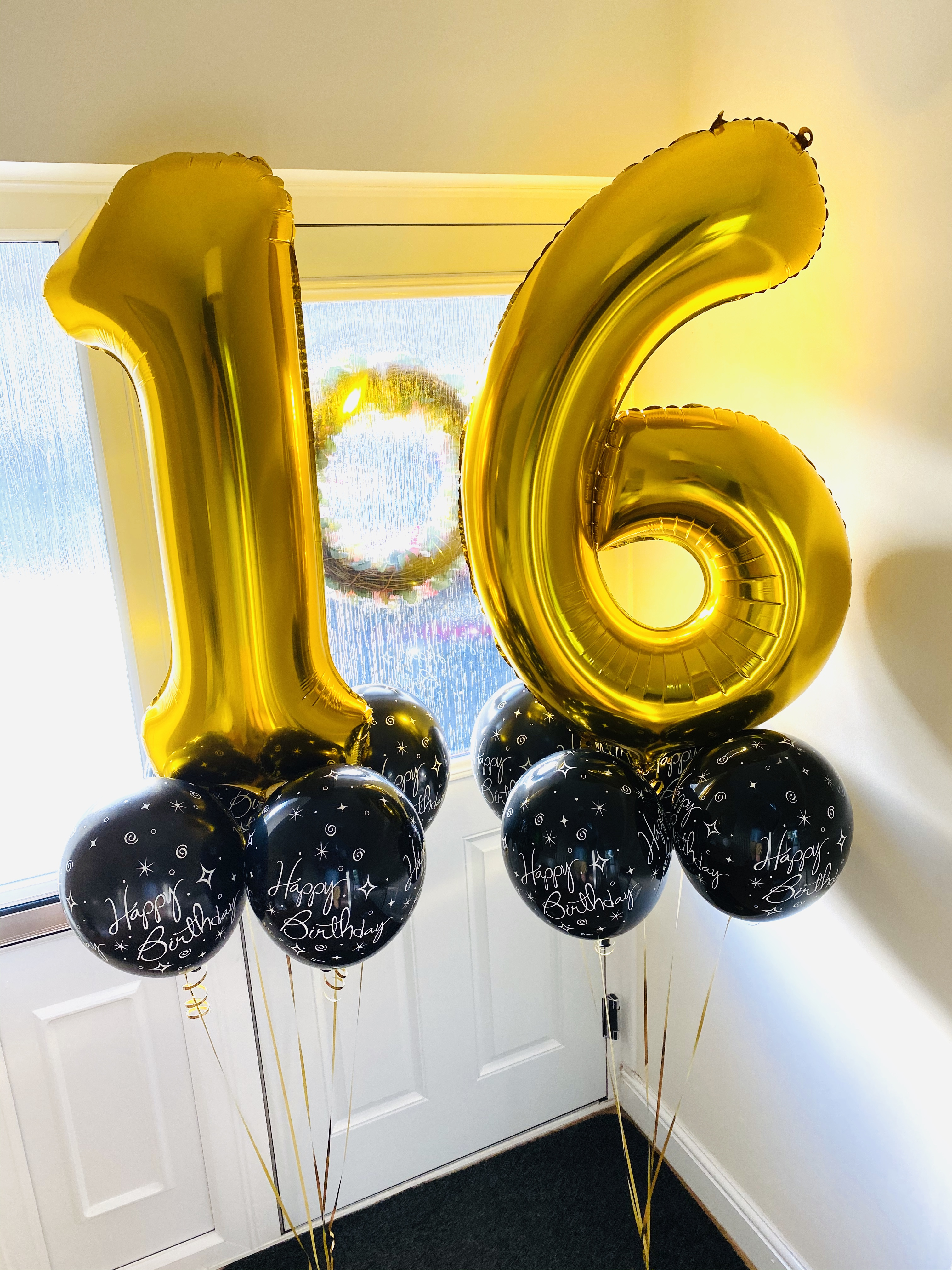 Number Balloon Clusters Black and gold