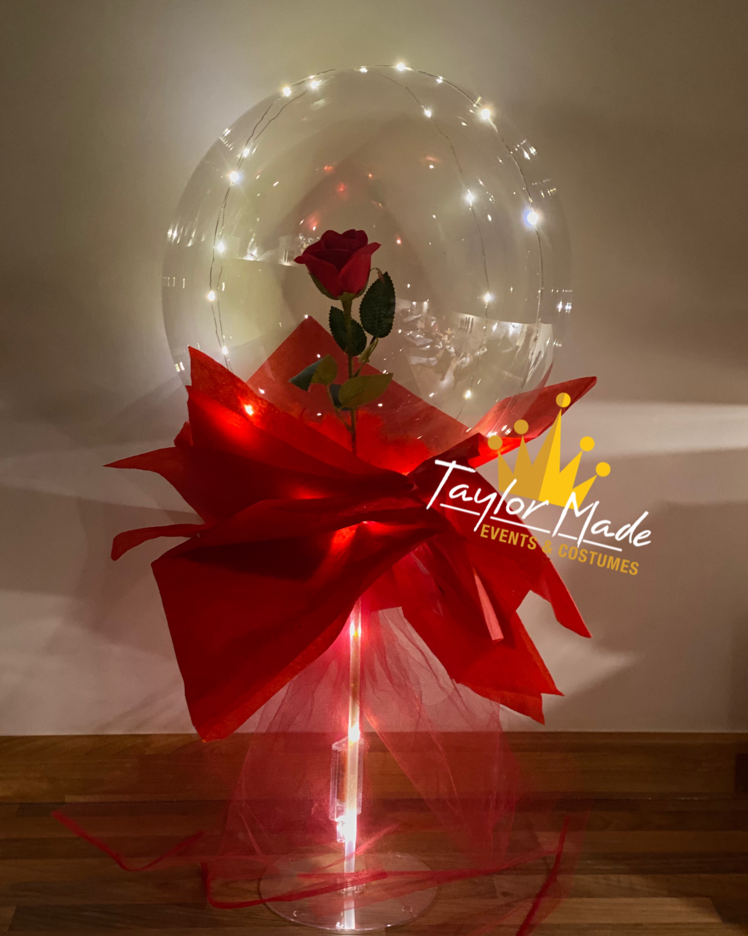 Rose Bubble Balloons With Lights