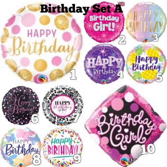 Foil Balloons Birthday Set A