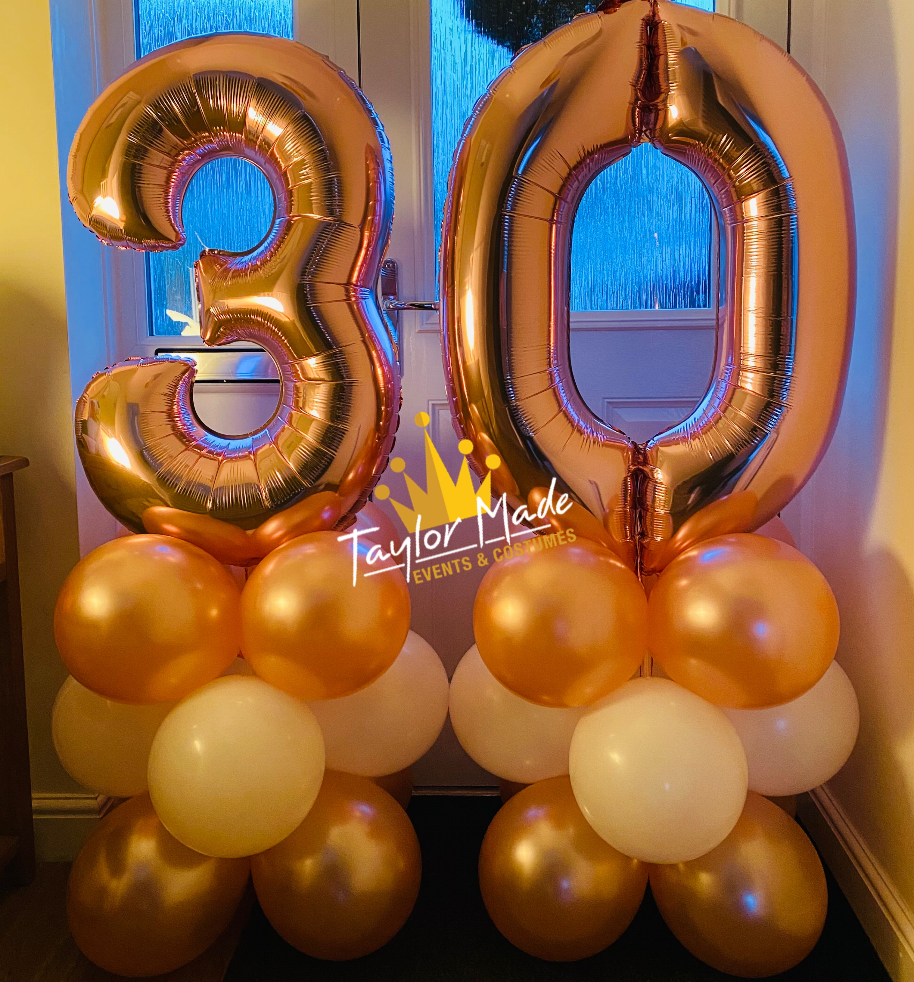 Rose Gold Large Number towers 30th Birthday