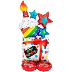 Happy Birthday balloon tower