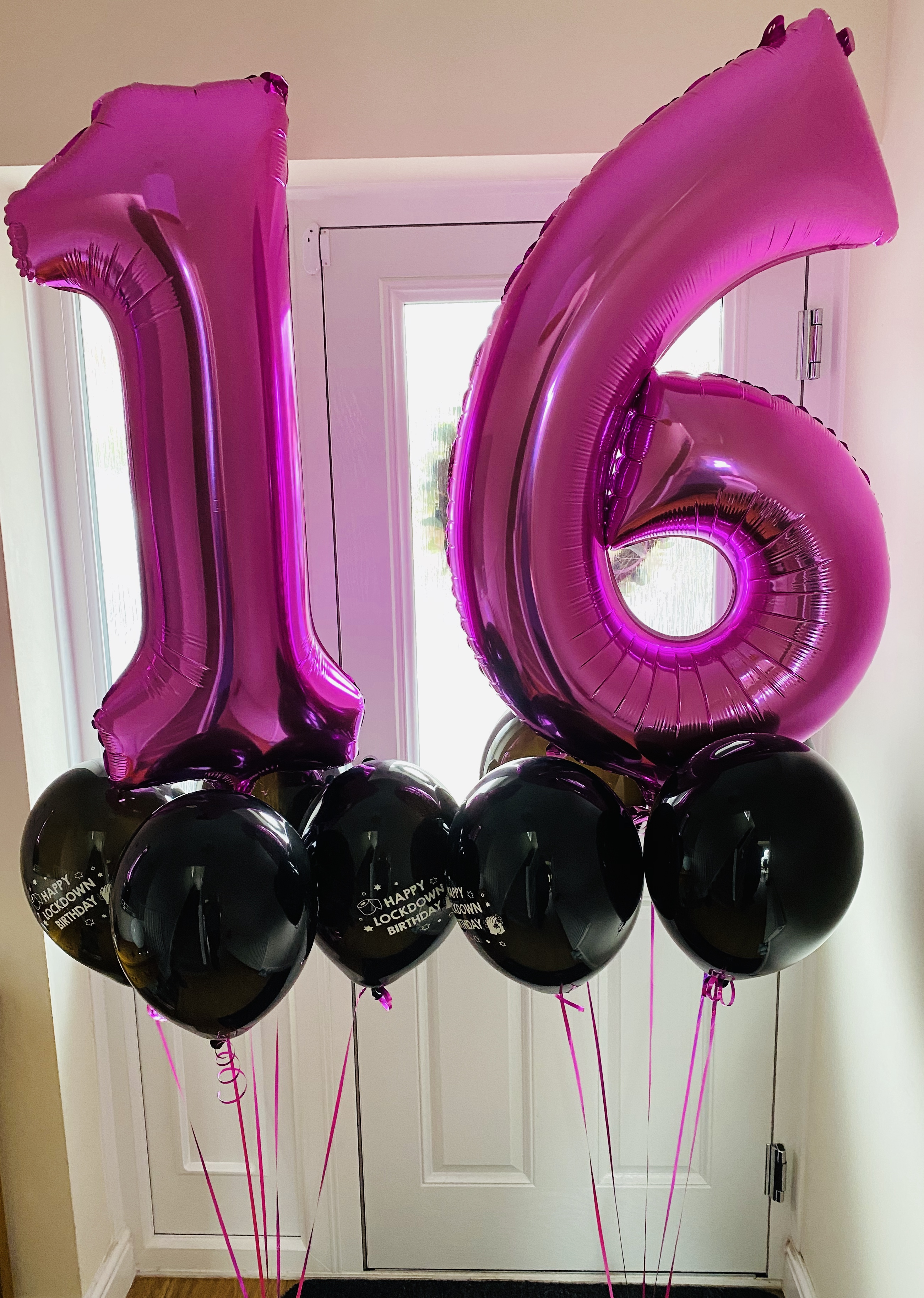 Number Balloon Cluster Pink and Black