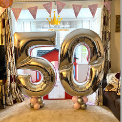 5Ft Number Balloons Silver
