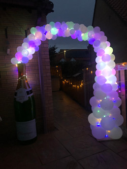 Champagne Balloon Arch with Lights