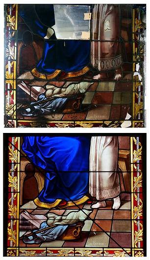 Détail restauration vitrail chapelle