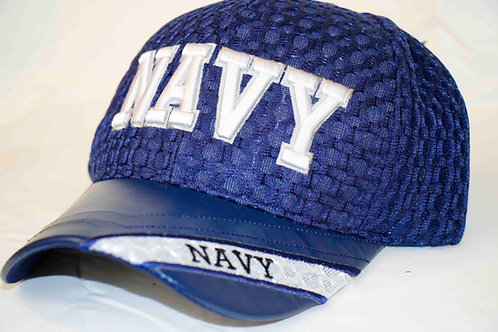 NAVY cap, leather brim, side embroidered emblem.  Shipping included in price.