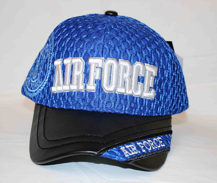 AIR FORCE, leather brim, embroidered side emblem.  Shipping included.