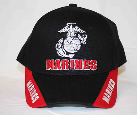 MARINES, black and red, 3-way logo (embroidered) cap. Shipping included.