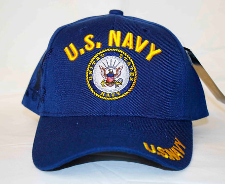 NAVY embroidered cap.  Side shadow-embroidered eagle.  Shipping included.