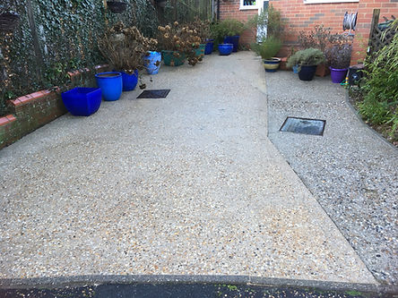Concrete driveway after jetwashing