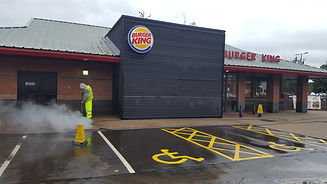 Burger King parking area being pressure washed
