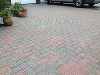 Claned and re-sanded block pave driveway