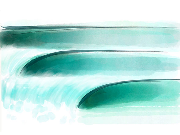 Glassy Wave set - digital watercolour