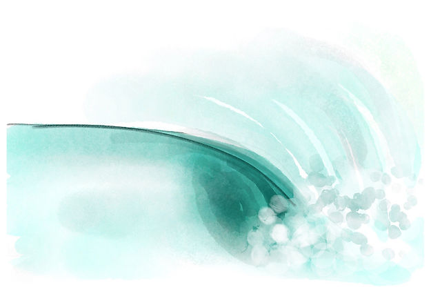 Right Handed wave - digital watercolour