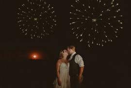 Wedding reception fireworks