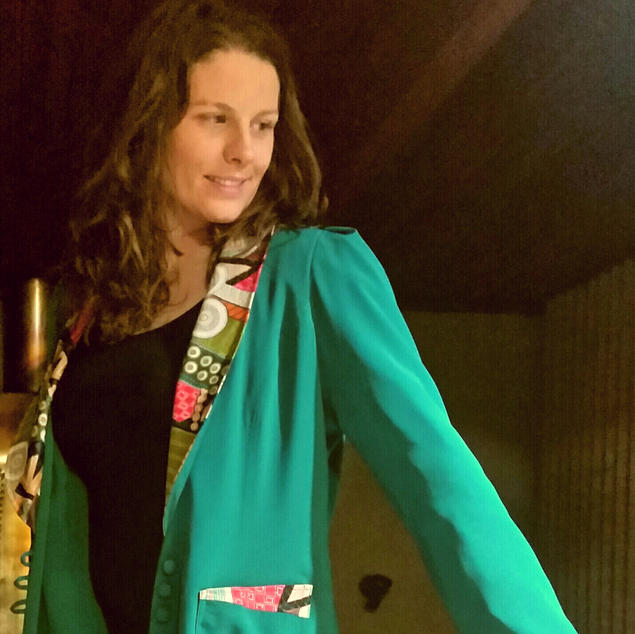Green jacket designed by Kaye Daniels