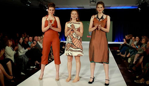 *Sophie Daniels (centre) on the runway with her models, atEco Fashion Week Australia 2018
