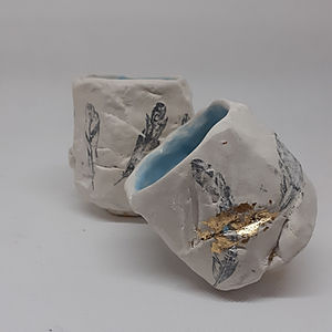 Pair of Kurinuki Tea Bowls - Feather