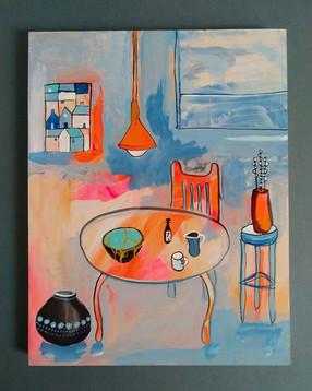 Orange Table With Kintsugi Pot