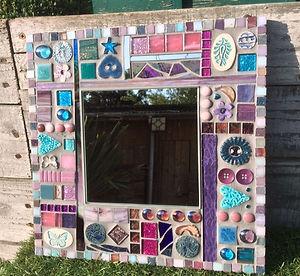 Small Pink & Grey Mirror
