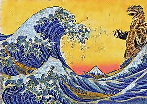 Godzilla vs Hokusai #1