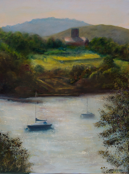 Dittisham Church from Greenway, Spring Evening