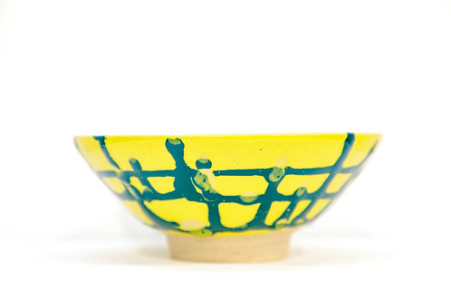 Yellow Bowl with Blue Stripe