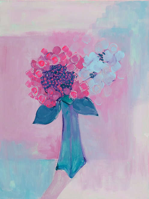Turquoise Vase of Hydrangea