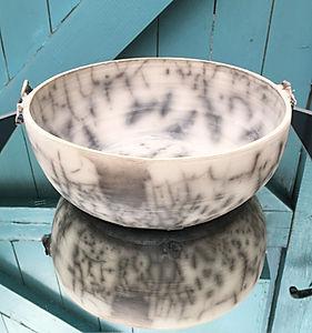 Large Naked Raku Bowl with Decorative Wings