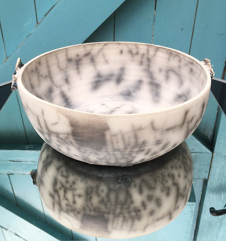 Large Naked Raku Bowl with Decorative Wings