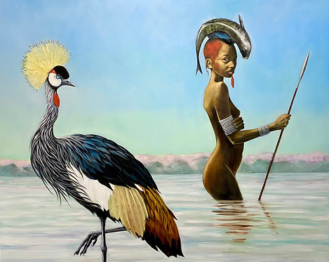 At the Water's Edge - Gold Crowned Crane