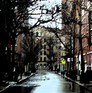 Rain on a Street in New York